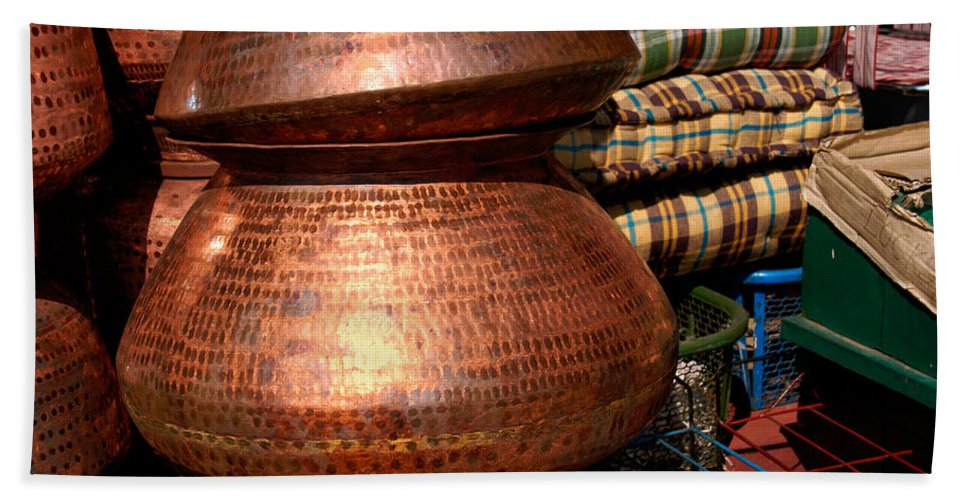 India Hand Towel featuring the digital art Copper Pots by Carol Ailles