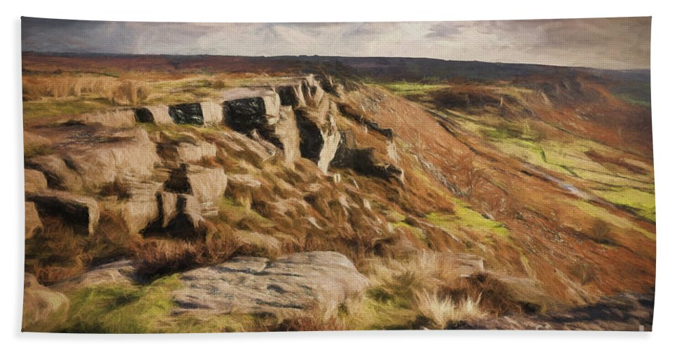 Peak Bath Sheet featuring the photograph Curbar Edge by Julie Woodhouse