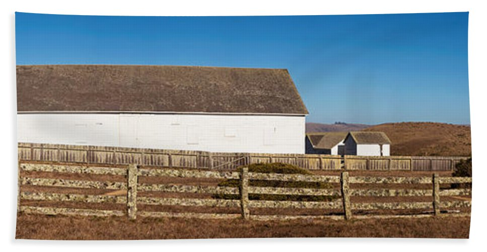 Photography Hand Towel featuring the photograph Dairy Buildings At Historic Pierce by Panoramic Images