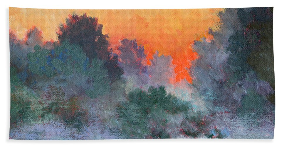 Impressionism Bath Sheet featuring the painting Dawn Mist by Keith Burgess
