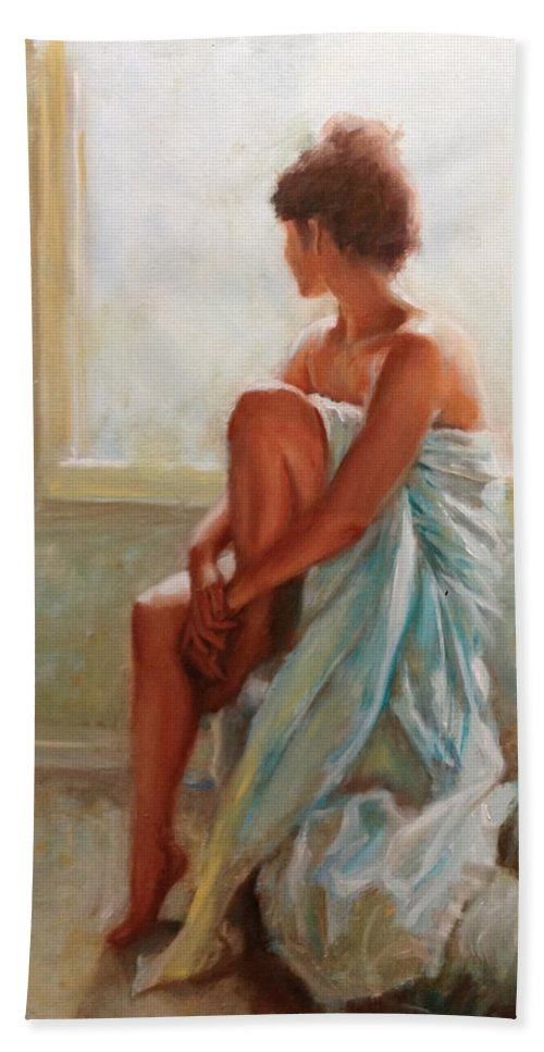 Figurative Hand Towel featuring the painting Daydream by Sarah Parks