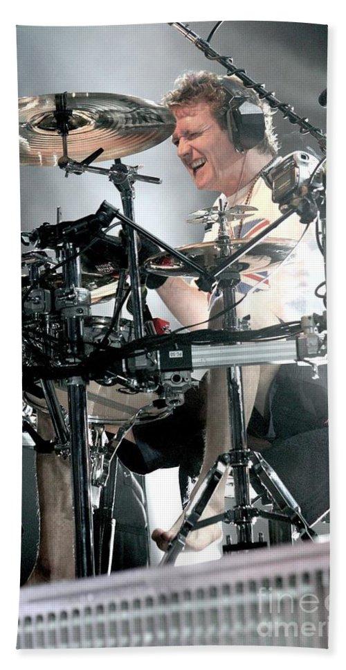 Def Leppard Bath Sheet featuring the photograph Def Leppard by Concert Photos