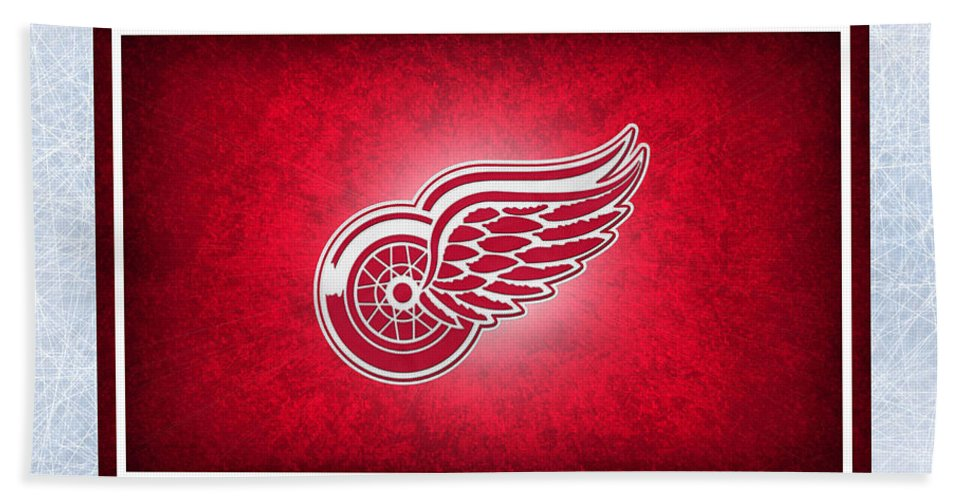Red Wings Hand Towel featuring the photograph Detroit Red Wings by Joe Hamilton