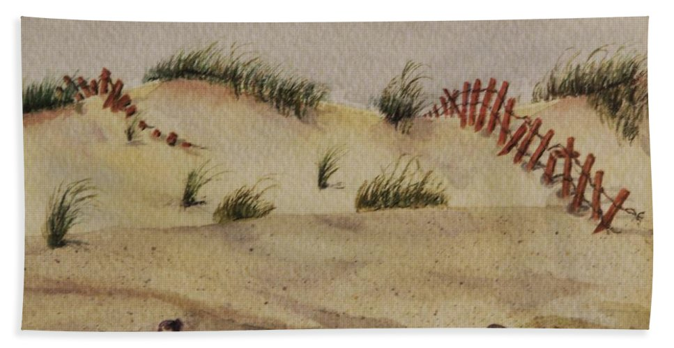 Sand Hand Towel featuring the painting Dunes by Mary Ellen Mueller Legault