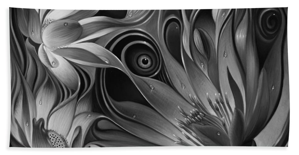 Lotus Bath Sheet featuring the painting Dynamic Floral Fantasy by Ricardo Chavez-Mendez