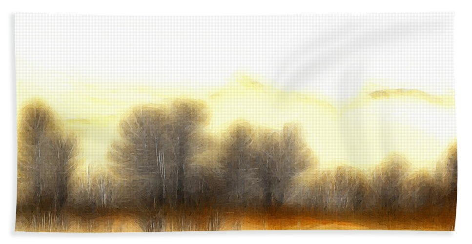 Morning Fog Mist Misty Tree Trees Mountain Nature Abstract Expressionism Landscape Painting Bath Sheet featuring the painting Early In The Morning by Steve K