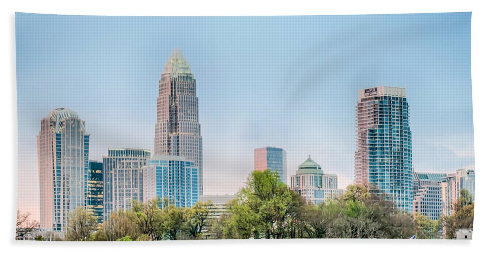 Early Hand Towel featuring the photograph Early Morning Sunrise Over Charlotte City Skyline Downtown by Alex Grichenko