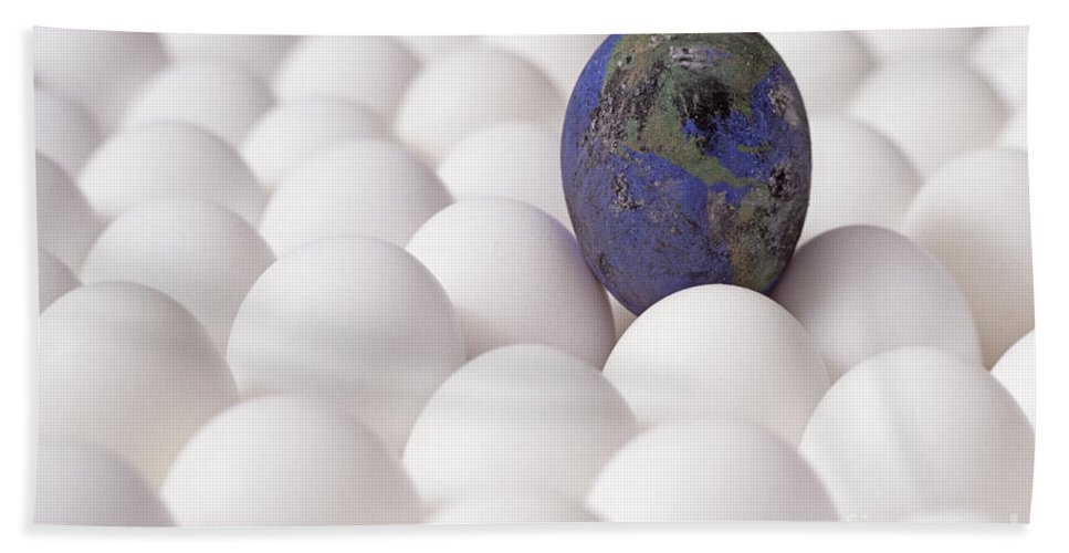Balance Hand Towel featuring the photograph Earth Egg Pollution by Jim Corwin