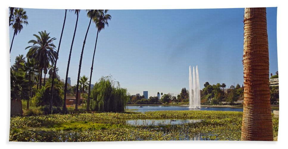 America Hand Towel featuring the photograph Echo Park L A by Howard Stapleton