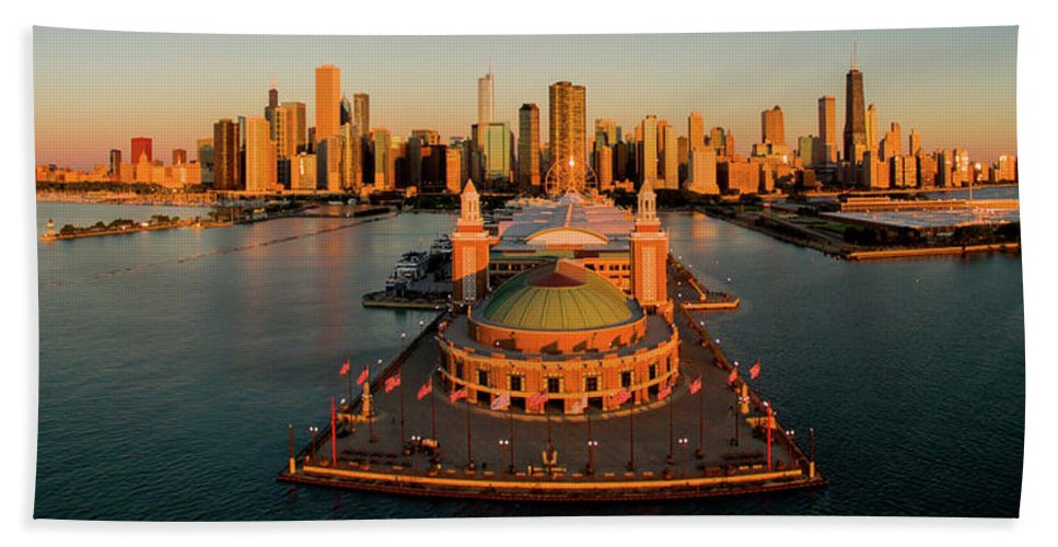Photography Bath Sheet featuring the photograph Elevated View Of The Navy Pier by Panoramic Images