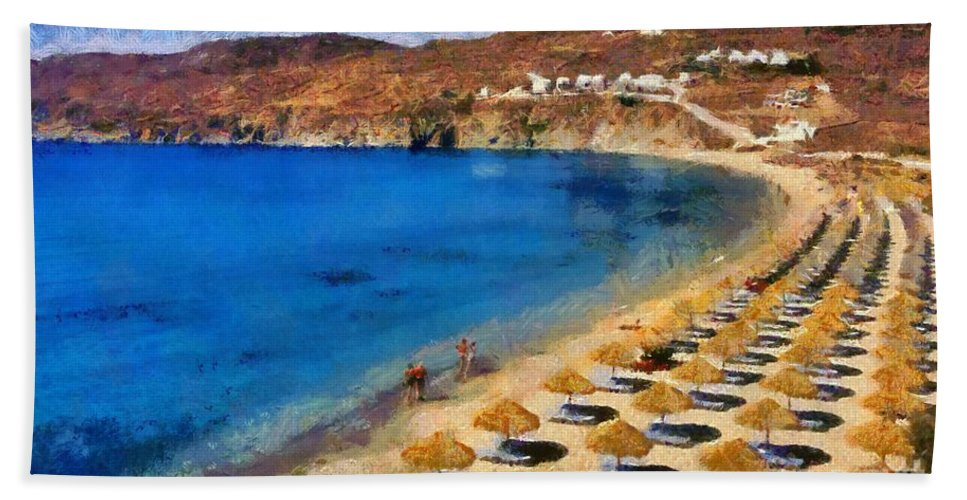 Mykonos; Mikonos; Beach; Elia; People; Tourists; Walk; Walking; Greece; Hellas; Cyclades; Kyklades; Greek; Hellenic; Aegean; Europe; European; Islands; Sand; Sea; Umbrellas; Sunshades; Island; Parasols; Sun Beds; Sea Beds; Clear Water; Transparent Water; Holidays; Vacation; Travel; Trip; Voyage; Journey; Tourism; Touristic; Summer; Sunny; Paint; Painting; Paintings Hand Towel featuring the painting Elia Beach In Mykonos Island by George Atsametakis