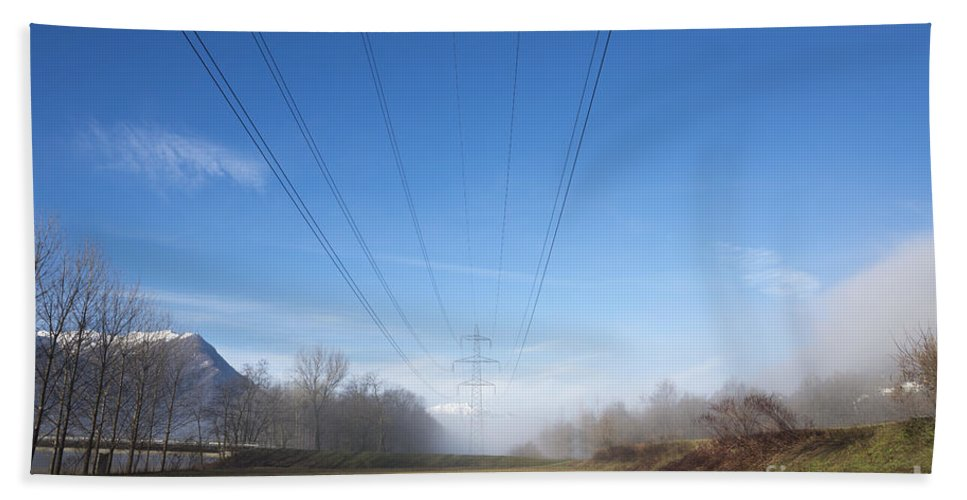 Electricity Pylon Bath Sheet featuring the photograph Energy by Mats Silvan