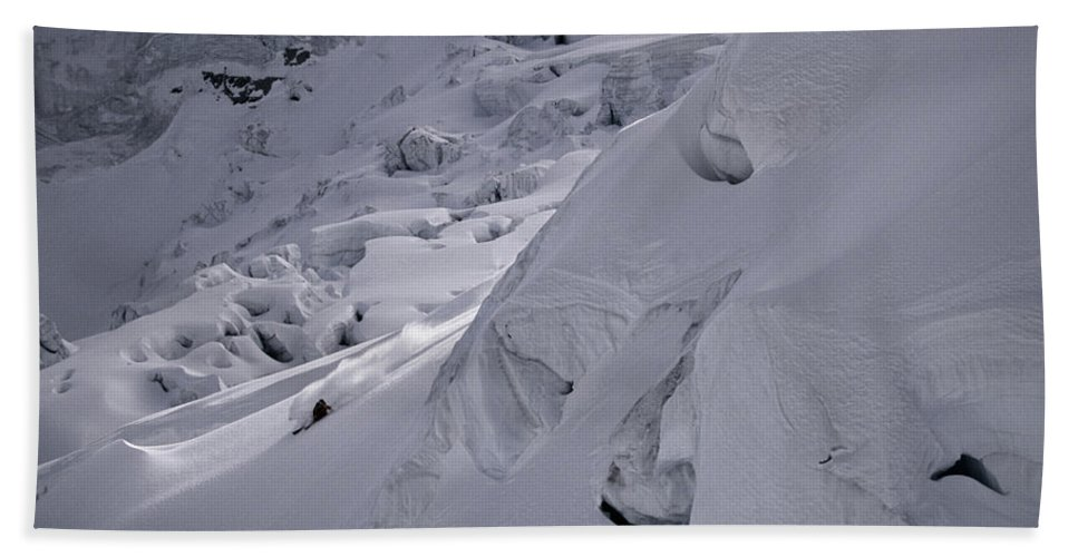 Action Hand Towel featuring the photograph Extreme Skier Going Fast In Beautiful by Patrik Lindqvist