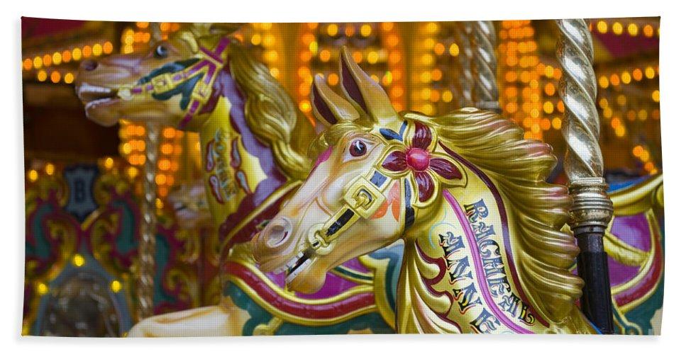 Amusement Hand Towel featuring the photograph Fairground Carousel by Lee Avison