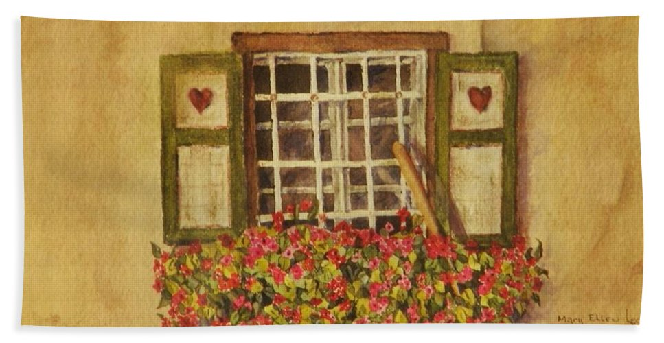 Rural Bath Sheet featuring the painting Farm Window by Mary Ellen Mueller Legault