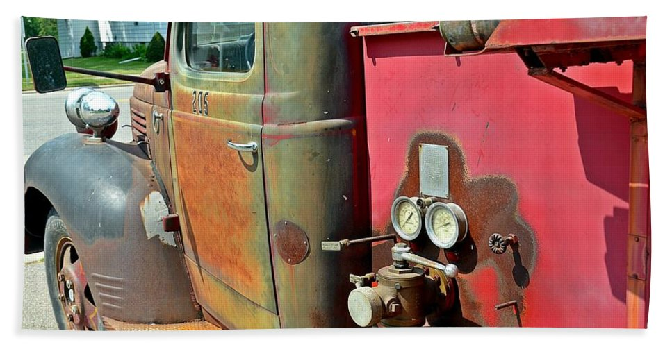 Fire Hand Towel featuring the photograph Fire Truck by Randy J Heath
