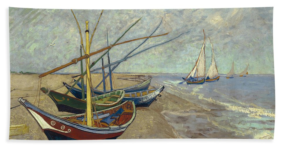Vincent Van Gogh Hand Towel featuring the painting Fishing Boats On The Beach At Les Saintes-maries-de-la-mer by Vincent van Gogh