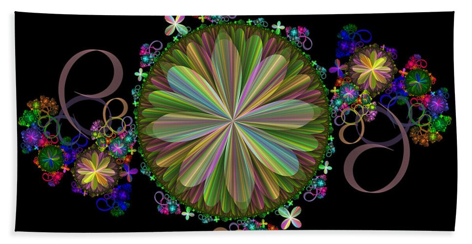 Fractal Hand Towel featuring the digital art Flowers by Sandy Keeton