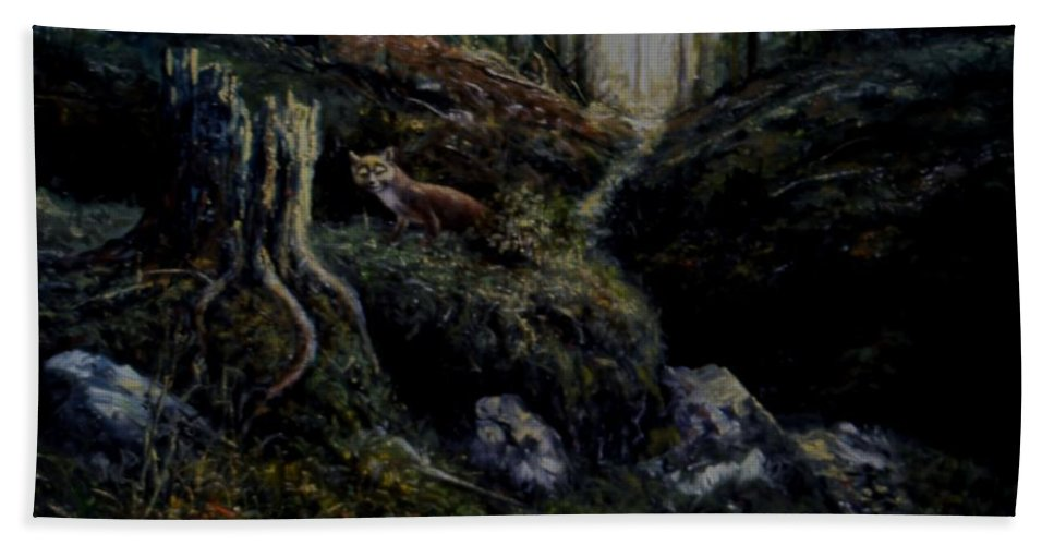 Genio Hand Towel featuring the mixed media Fox In The Wood by Genio GgXpress