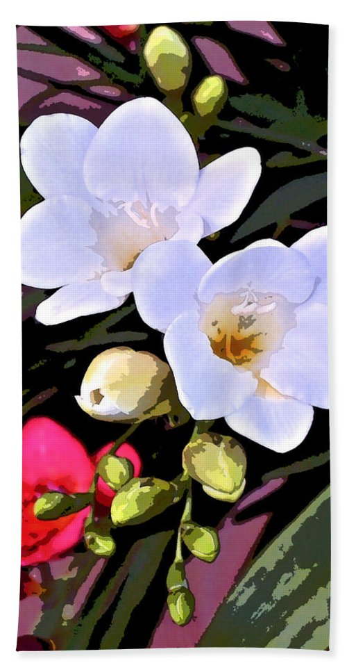 Floral Bath Sheet featuring the photograph Freesias 1 by Pamela Cooper