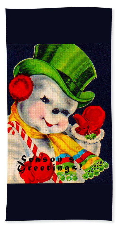 Vintage Christmas Card Image Hand Towel featuring the digital art Frosty The Snowman by Vintage Christmas Card Image