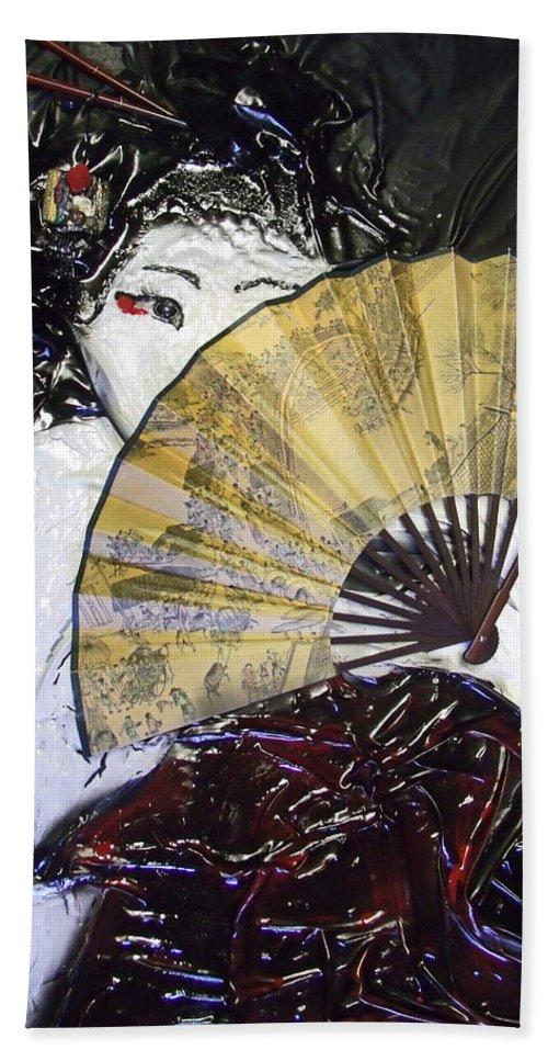 Sculpted Art Bath Sheet featuring the mixed media Geisha Girl by Angela Stout