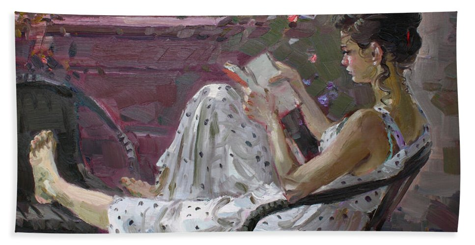 Girl Reading Bath Towel featuring the painting Girl Reading by Ylli Haruni