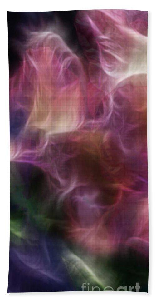Gladiola Bath Sheet featuring the digital art Gladiola Nebula Triptych Panel 1 by Peter Piatt