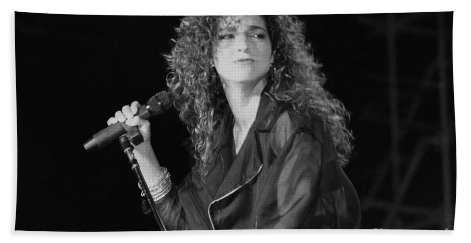Grammy Award-winning Bath Sheet featuring the photograph Gloria Estefan And The Miami Sound Machine by Concert Photos