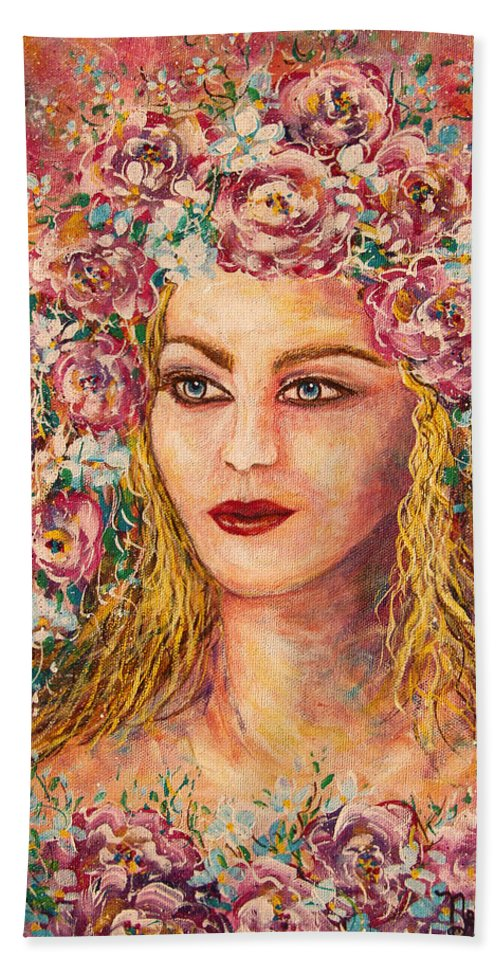 Goddess Bath Sheet featuring the painting Good Fortune Goddess by Natalie Holland