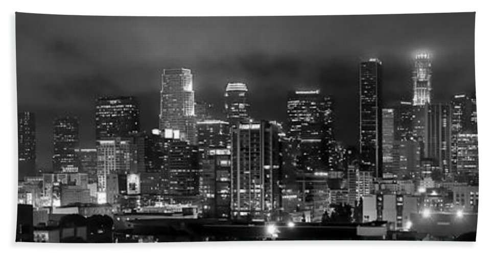 Los Angeles Skyline Bath Sheet featuring the photograph Gotham City - Los Angeles Skyline Downtown At Night by Jon Holiday