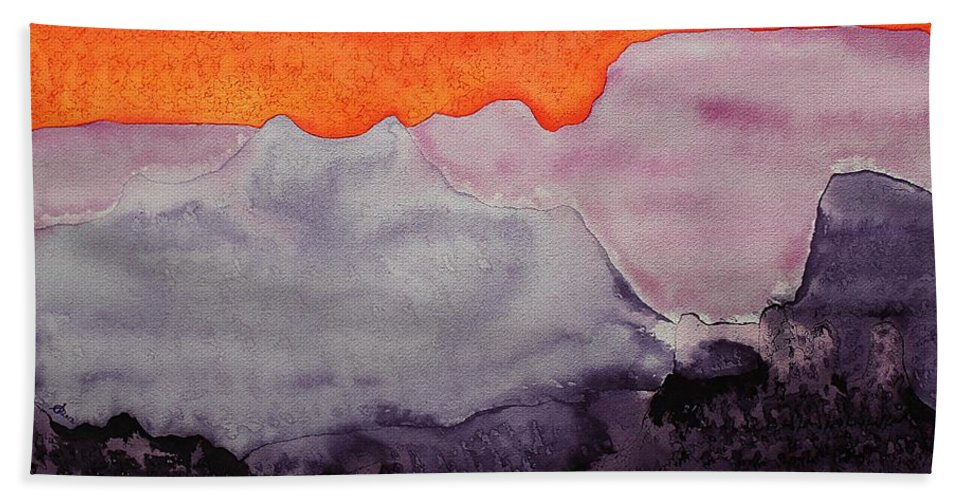 Grand Canyon Bath Sheet featuring the painting Grand Canyon Original Painting by Sol Luckman