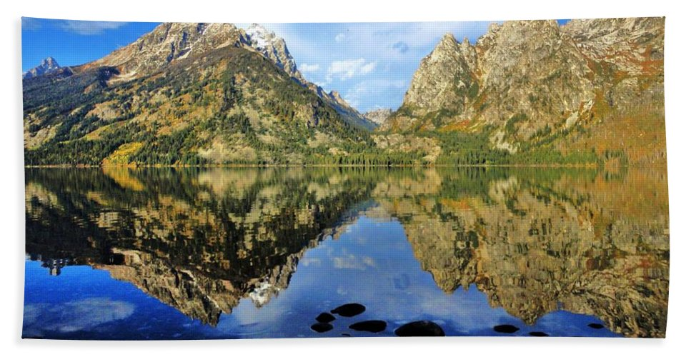 Grand Teton Bath Sheet featuring the photograph Grand Teton Mirror by Benjamin Yeager