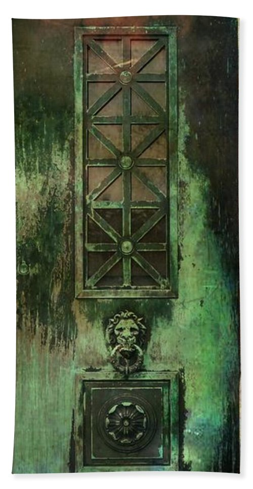 Green Doors Hand Towel featuring the photograph Green Doors by Gothicrow Images