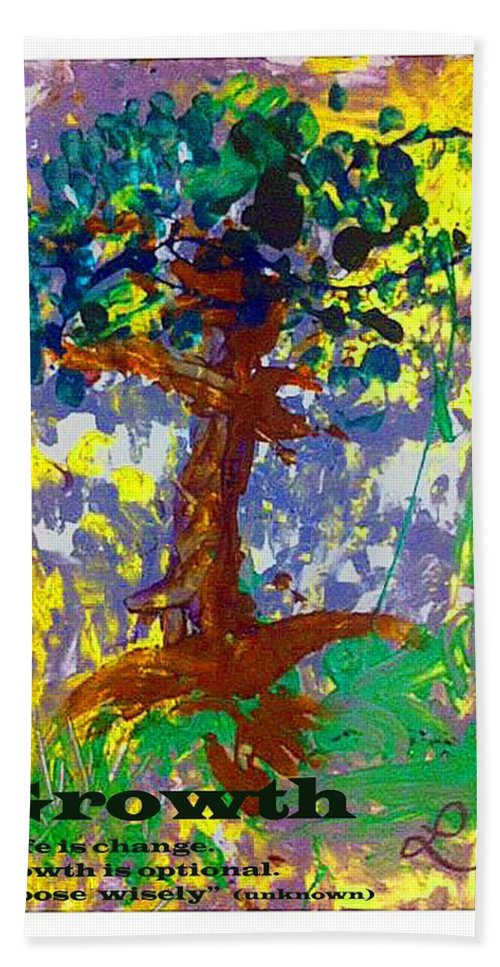 Trees Hand Towel featuring the mixed media Growth by Luz Elena Aponte