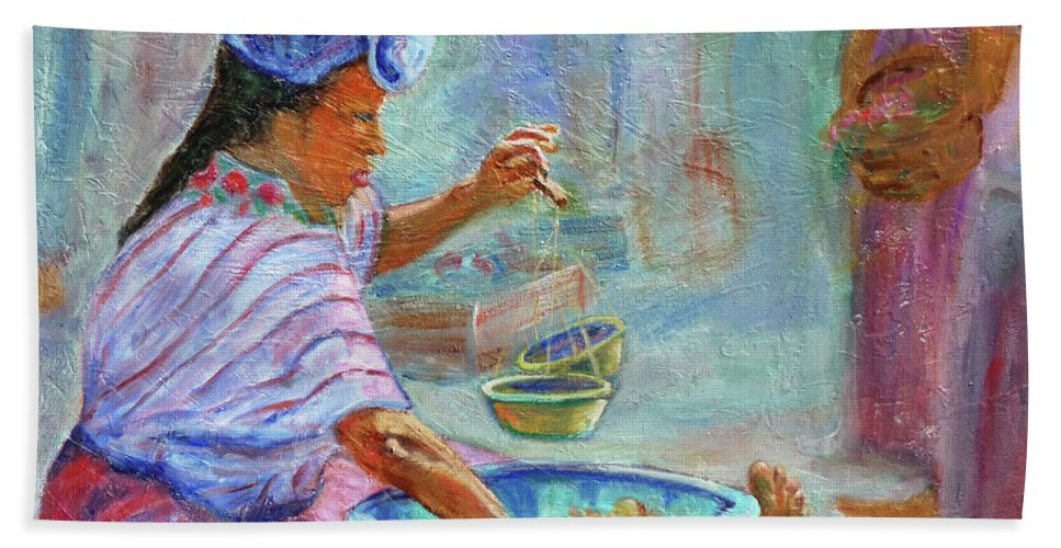Figurative Bath Sheet featuring the painting Guatemala Impression Iv by Xueling Zou