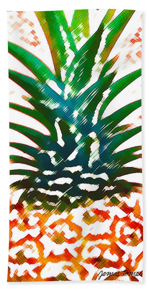 Food Bath Sheet featuring the digital art Hawaiian Pineapple by James Temple