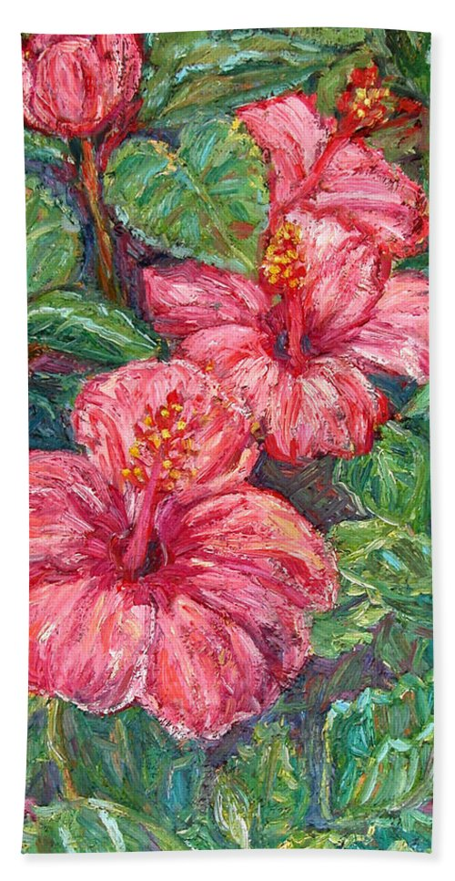 Hibiscus Bath Towel featuring the painting Hibiscus by Kendall Kessler