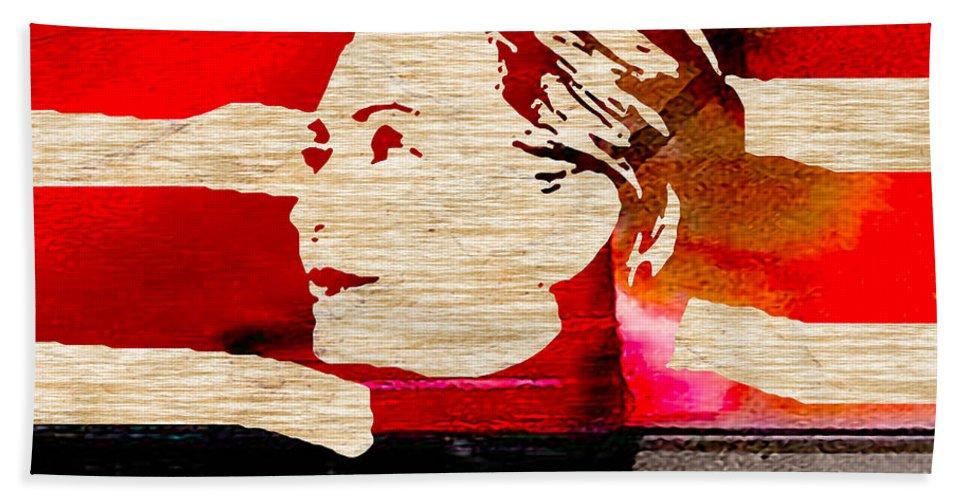 Hillary Clinton Paintings Mixed Media Bath Sheet featuring the mixed media Hillary Clinton 2016 by Marvin Blaine