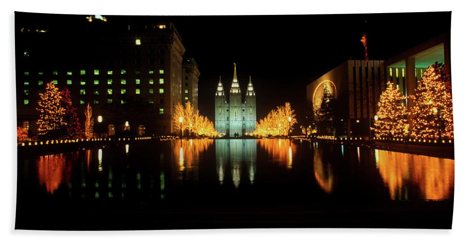 Photography Bath Towel featuring the photograph Historic Temple And Square In Salt Lake by Panoramic Images