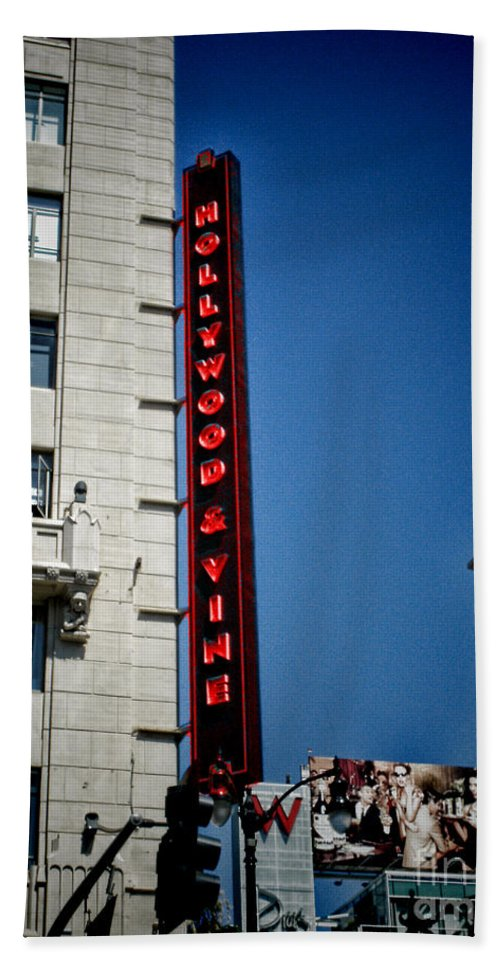 Hollywood Blvd And Vine Street California Hollywood And Vine Bath Sheet featuring the photograph Hollywood Boulevard by RJ Aguilar