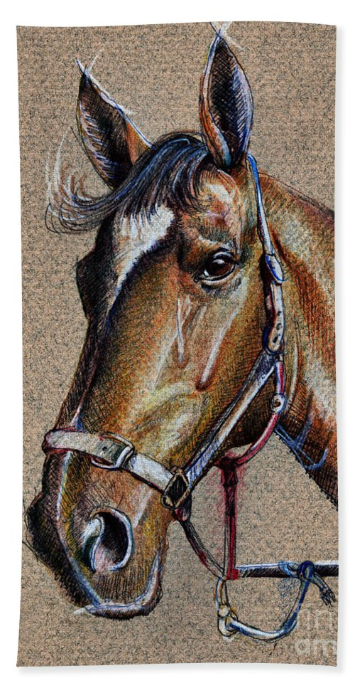 Horse Hand Towel featuring the drawing Horse Face - Drawing by Daliana Pacuraru