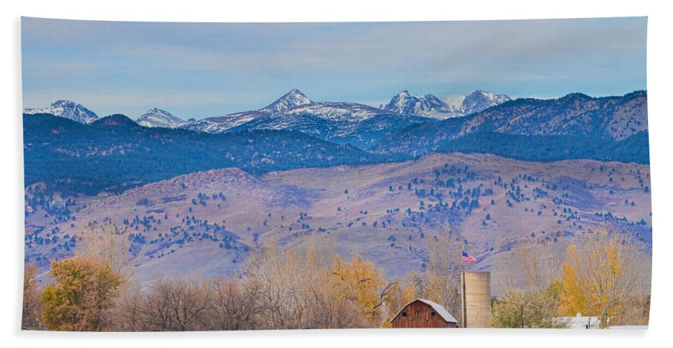'hot Air Balloon' Bath Sheet featuring the photograph Hot Air Balloon Rocky Mountain Country View by James BO Insogna