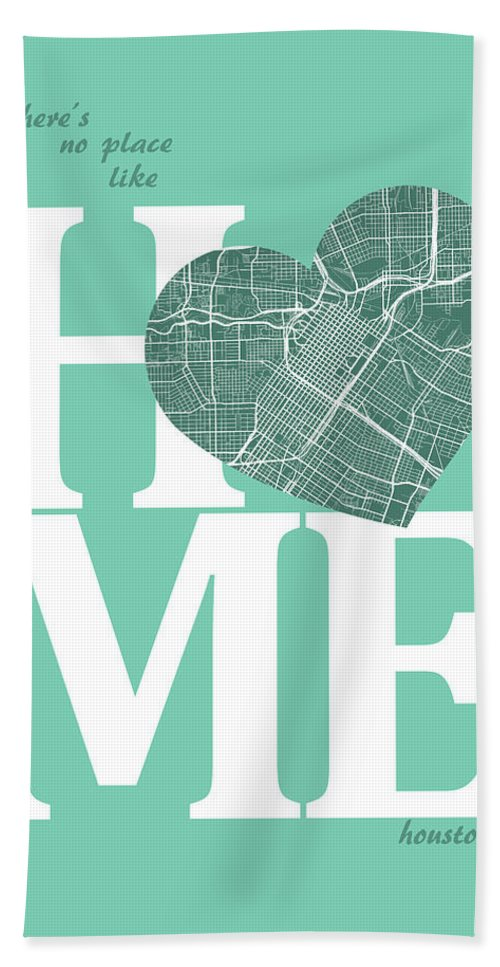 Road Map Bath Sheet featuring the digital art Houston Street Map Home Heart - Houston Texas Road Map In A Hear by Jurq Studio