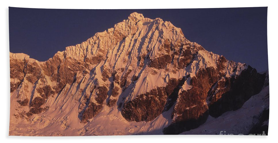 Peru Hand Towel featuring the photograph Mt Huandoy Sunrise Peru by James Brunker