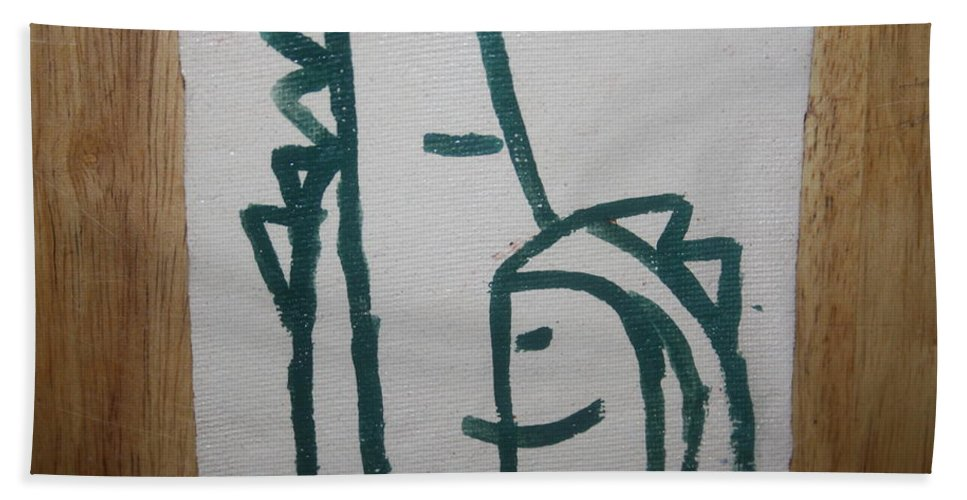 Jesus Bath Sheet featuring the ceramic art Hugs - Tile by Gloria Ssali