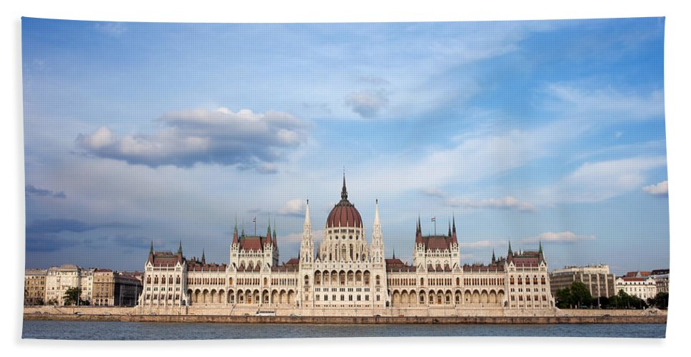 Architectural Bath Sheet featuring the photograph Hungarian Parliament Building In Budapest by Artur Bogacki