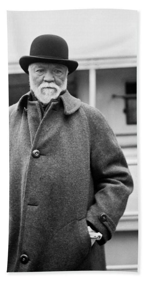 1912 Hand Towel featuring the photograph Industrialist Andrew Carnegie by Underwood Archives