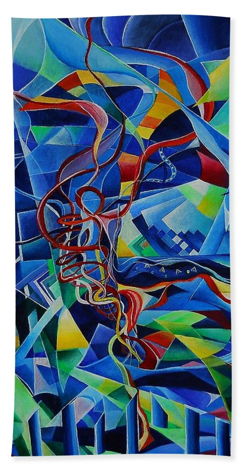 Johann Sebastian Bach Toccata And Fugue D Minor Acrylics Abstract Music Pens Gems Bath Towel featuring the painting Inside The Cathedral by Wolfgang Schweizer