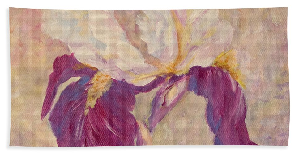 Iris Hand Towel featuring the painting Iris by Joanne Smoley